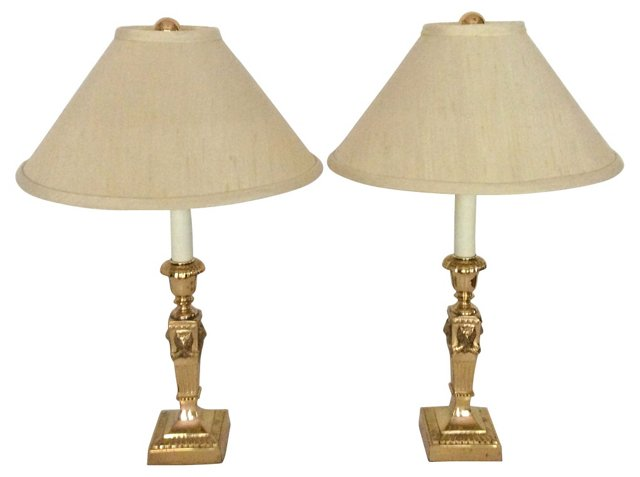 French-Style Brass Lamps, Pair