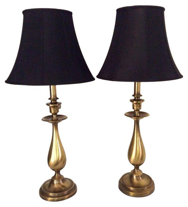 Midcentury Brass Lamps, Pair