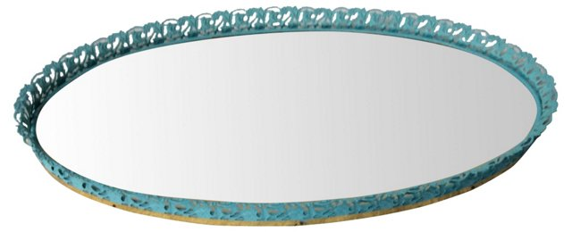 Blue & Brass Oval Mirrored Tray