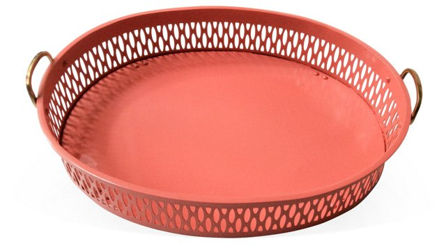 Coral Lacquered Pierced Tray