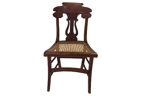 Tiger Maple & Cane Side Chair