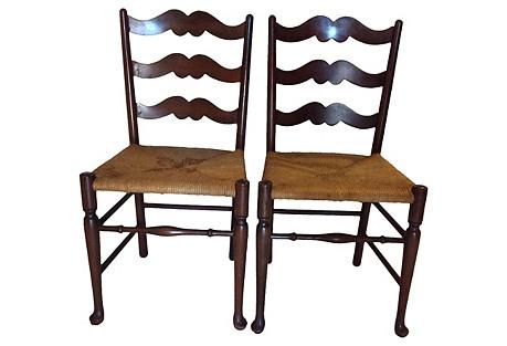 Ladder-Back & Rush Chairs, Pair