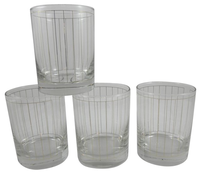 Gold Striped Cocktail Glasses, Set of 4