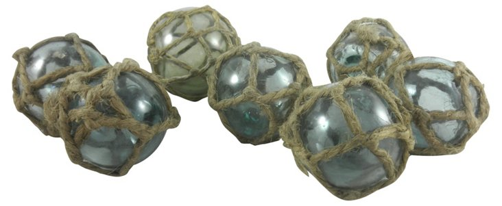 Netted Fishing Floats, Set of 7