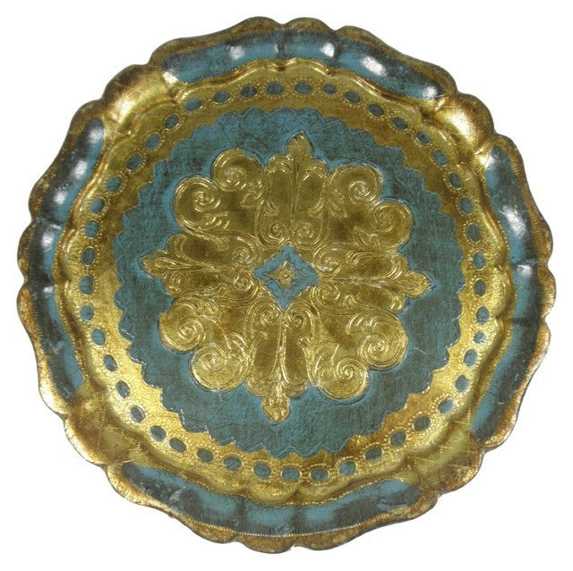 Round Blue & Gold Florentine Tray