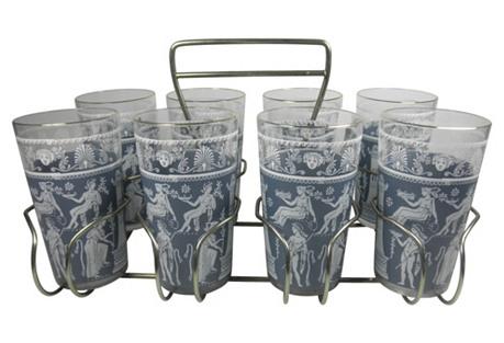 Greek Motif Glasses & Rack, 9-Pcs