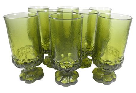 Franciscan Tall Green Goblets, S/8