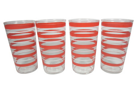 Red & White Striped Tumblers, S/4