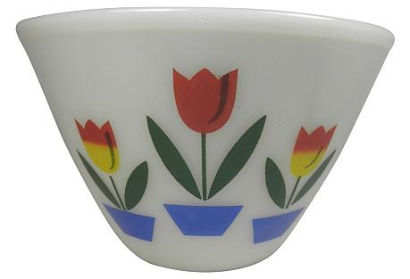 Fire King Tulip Motif Bowl