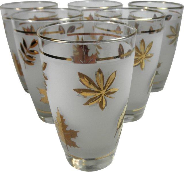 Gold Foliage Glasses, Set of 6