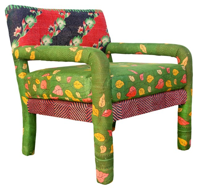 Kantha-Upholstered Armchair