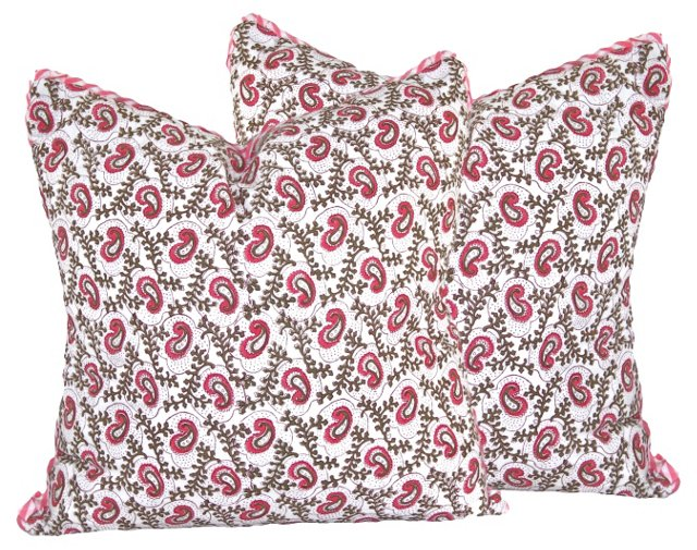 Paisley Block Print Pillows, Pair