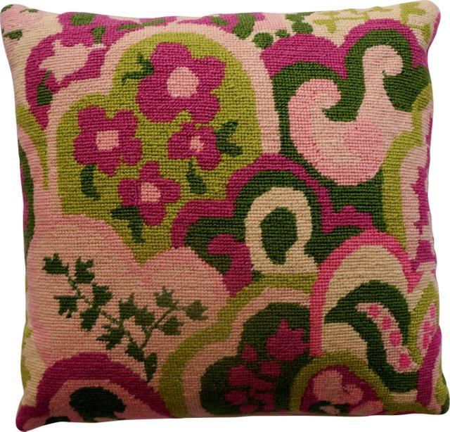 Pink & Green Needlepoint Pillow
