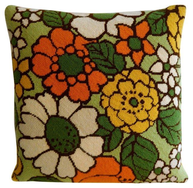 Pillow w/ 1960s Needlepoint