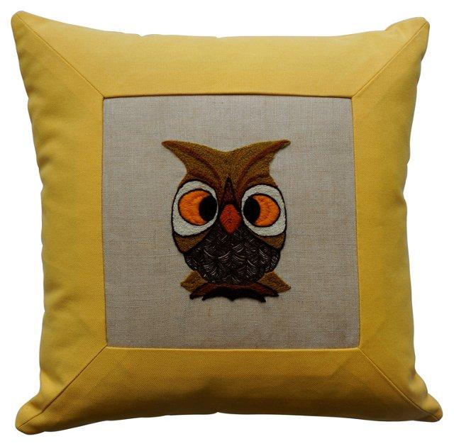 Crewel Owl Pillow