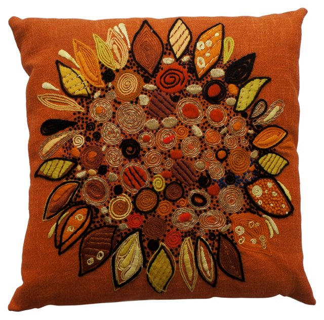 Crewelwork Abstract Sunflower Pillow