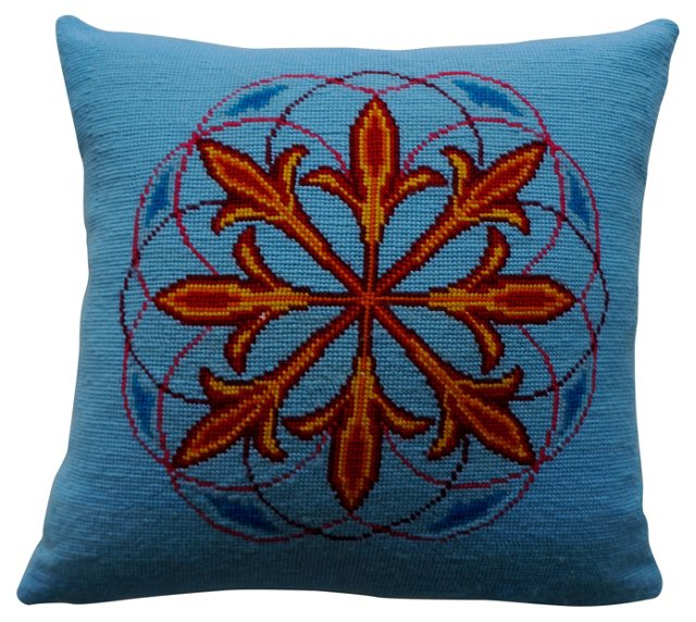Blue & Red Needlepoint Pillow