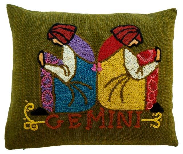 Gemini Crewel Pillow
