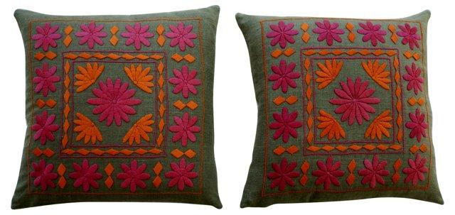 Pink & Orange Embroidered Pillows, Pair
