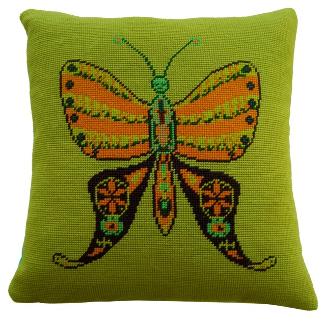 Mod Butterfly Needlepoint Pillow