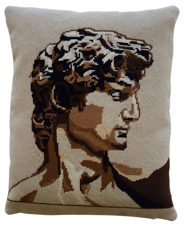 David Needlepoint Pillow