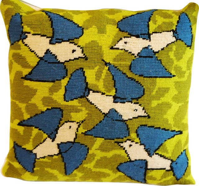 Needlepoint Mod Birds Pillow