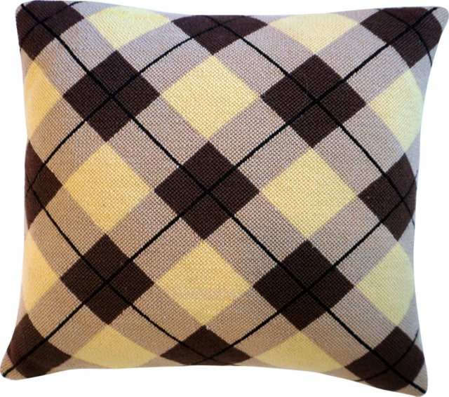 Argyle Needlepoint Pillow