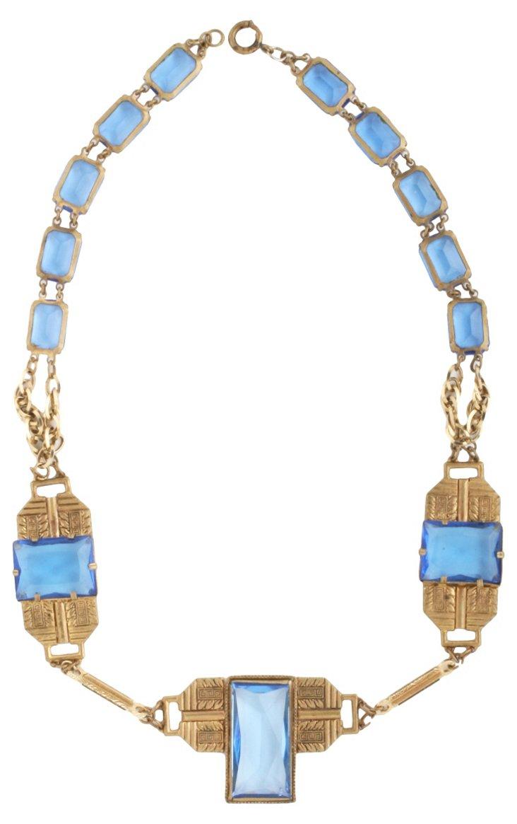 1940s Czechoslovakian Blue Necklace