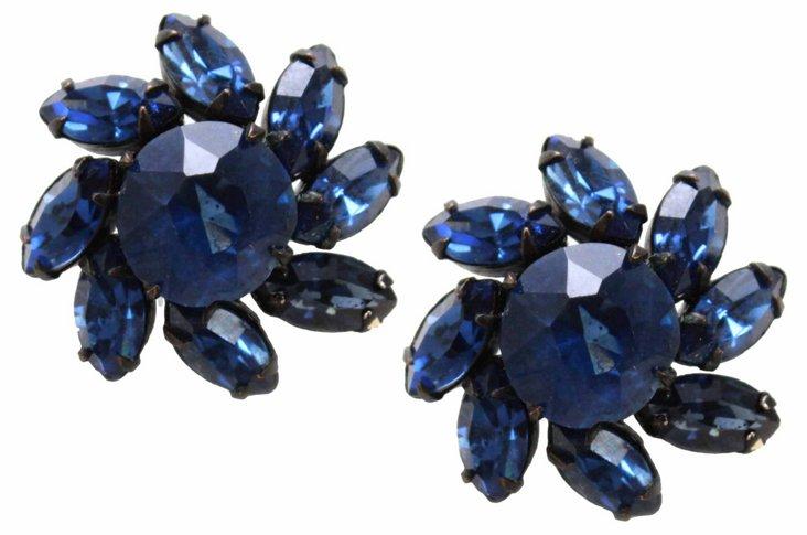 1950s Hobé Faux-Sapphire Floral Earrings