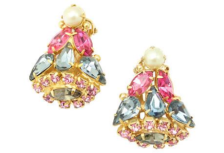 Multicolor Rhinestone Earrings, Robert