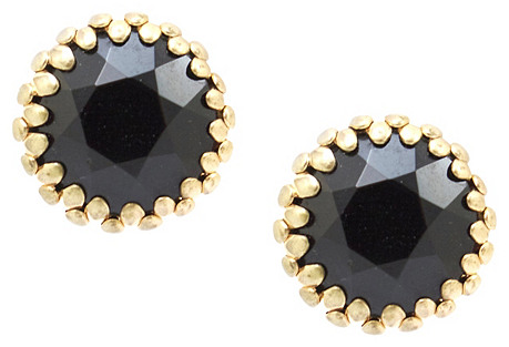 Black Faceted Button Earrings