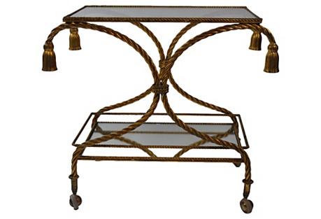 Italian Gilt & Tassel Bar Cart