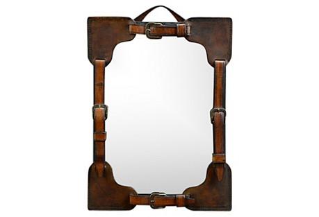 Leather & Brass Strap Mirror