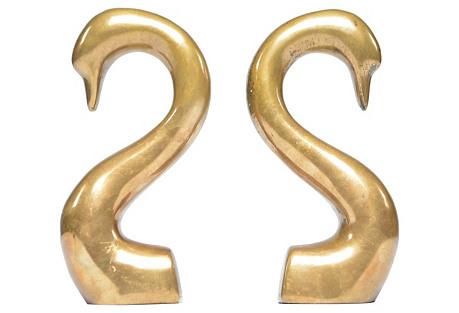 Bronze Swan Bookends, S/2