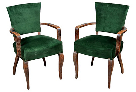French Bridge Chairs, Pair