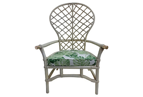 White Painted Rattan Balloon-Back Chair
