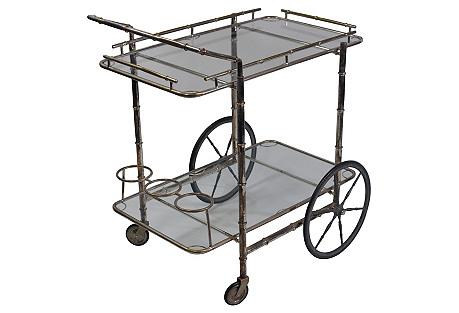 Nickel-Plated Bar Cart