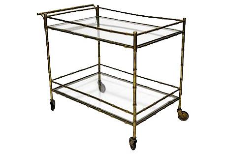 Gilded Bamboo-Style Bar Cart
