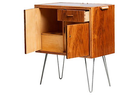 Midcentury Fold-Out Bar Cabinet