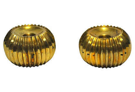 Low Brass Candlestick Holders, S/2