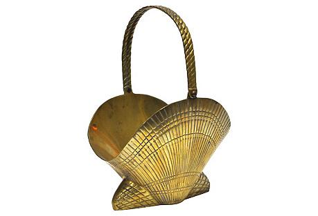 Brass Clamshell Basket