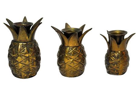 Pineapple Candleholders, S/3