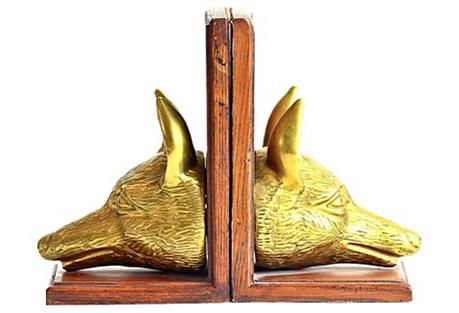 Brass & Wood Fox Head Bookends, S/2
