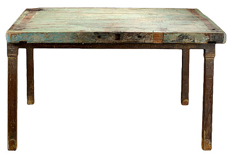 French Iron & Teak Dining Table