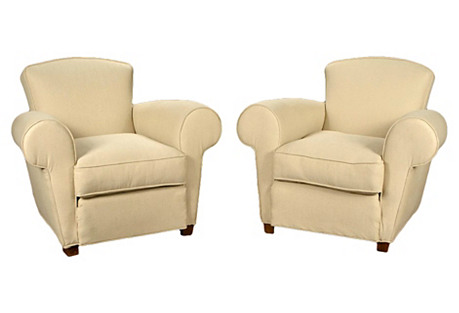 Deco-Style Cream Linen Club Chairs, Pair