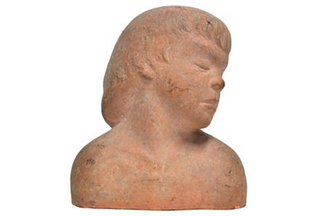 Terracotta Bust, C. 1960