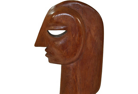 Wood Sculpture of Woman's Head