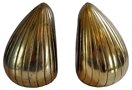 Tear Drop Brass Bookends