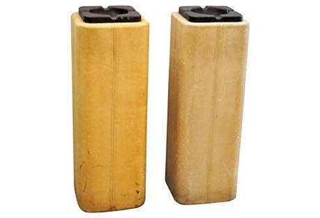 Leather Cigarette Ashtrays, S/2