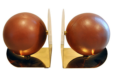 Leather Medicine Ball Bookends